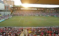 Portland, OR - Saturday May 27, 2017: Providence Park general view at sunset during a regular season National Women's Soccer League (NWSL) match between the Portland Thorns FC and the Boston Breakers at Providence Park.