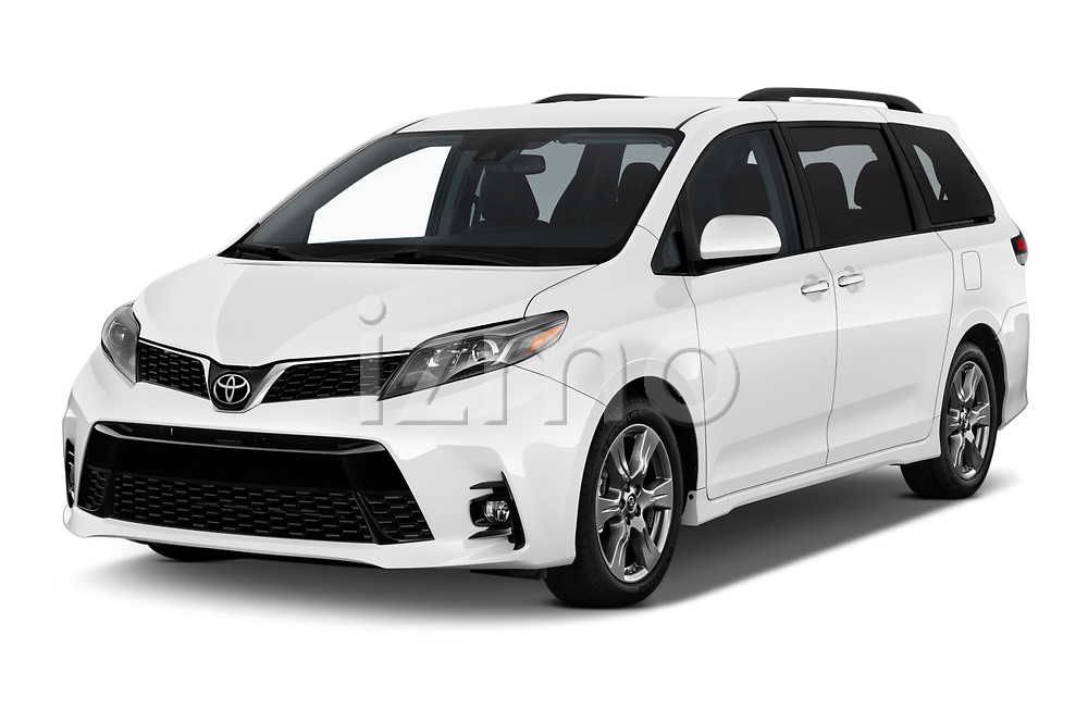 2018 Toyota Sienna SE 5 Door Mini Van angular front stock photos of front three quarter view