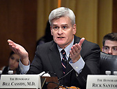 "United States Senator Bill Cassidy (Republican of Louisiana) testifies before the US Senate Committee on Finance ""Hearing to Consider the Graham-Cassidy-Heller-Johnson Proposal"" on the repeal and replace of the Affordable Care Act (ACA) also known as ""ObamaCare"" in Washington, DC on Monday, September 25, 2017.  Cassidy, a medical doctor, is one of the authors of the bill.<br /> Credit: Ron Sachs / CNP"