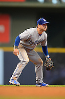Los Angeles Dodgers shortstop Nick Punto #7 during a game against the Milwaukee Brewers at Miller Park on May 22, 2013 in Milwaukee, Wisconsin.  Los Angeles defeated Milwaukee 9-2.  (Mike Janes/Four Seam Images)