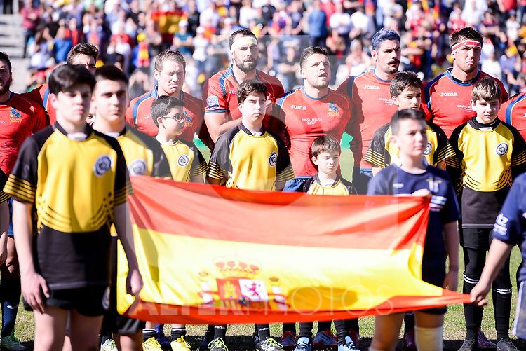 Spain team during Rugby Europe Championship 2017 match between Spain and Belgium in Madrid. March 18, 2017. (ALTERPHOTOS/Borja B.Hojas)