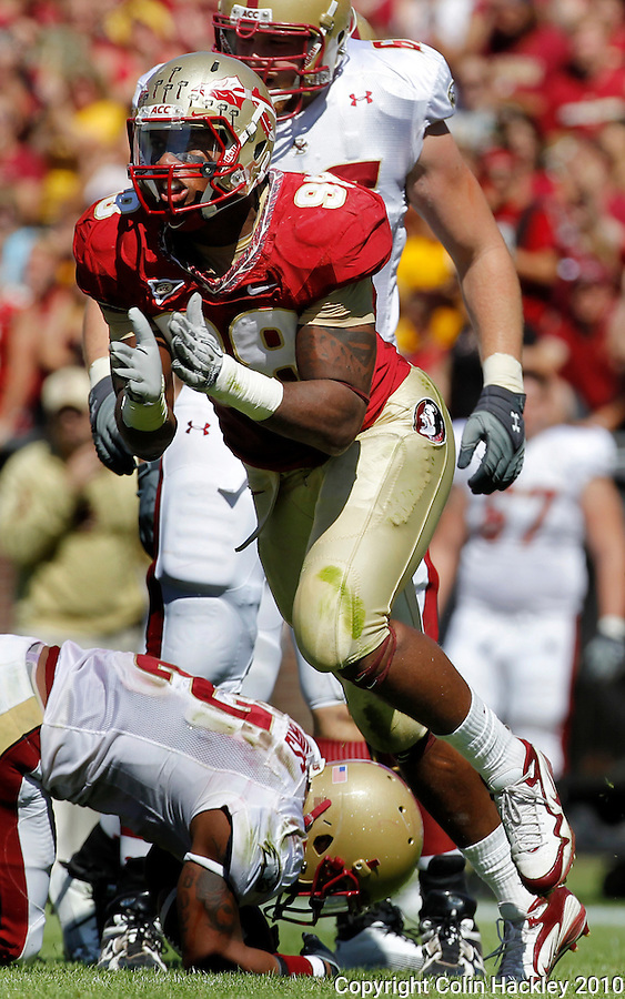 TALLAHASSEE, FL 10-FSU-BC FB10 CH-Florida State's Markus White celebrates tackling Boston College's Montel Harris during first half action Saturday at Doak Campbell Stadium in Tallahassee. .COLIN HACKLEY PHOTO