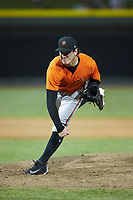 Frederick Keys starting pitcher Michael Baumann (36) follows through on his delivery against the Winston-Salem Dash at BB&T Ballpark on July 26, 2018 in Winston-Salem, North Carolina. The Keys defeated the Dash 6-1. (Brian Westerholt/Four Seam Images)