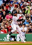 22 June 2019: Boston Red Sox center fielder Jackie Bradley Jr. at bat against the Toronto Blue Jays at Fenway :Park in Boston, MA. The Blue Jays rallied to defeat the Red Sox 8-7 in the 2nd game of their 3-game series. Mandatory Credit: Ed Wolfstein Photo *** RAW (NEF) Image File Available ***