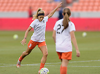 Houston, TX - Friday April 29, 2016: Rachel Daly (3) of the Houston Dash warming up prior to their game game with Sky Blue FC at BBVA Compass Stadium. The Houston Dash tied Sky Blue FC 0-0.