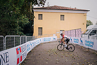 Tim Wellens (BEL/Lotto-Soudal) getting to a dead end after finishing<br /> <br /> 99th Milano - Torino 2018 (ITA)<br /> from Magenta to Superga: 200km
