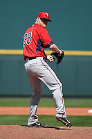 Minnesota Twins pitcher Logan Darnell (38) during a Spring Training game against the Pittsburgh Pirates on March 13, 2015 at McKechnie Field in Bradenton, Florida.  Minnesota defeated Pittsburgh 8-3.  (Mike Janes/Four Seam Images)
