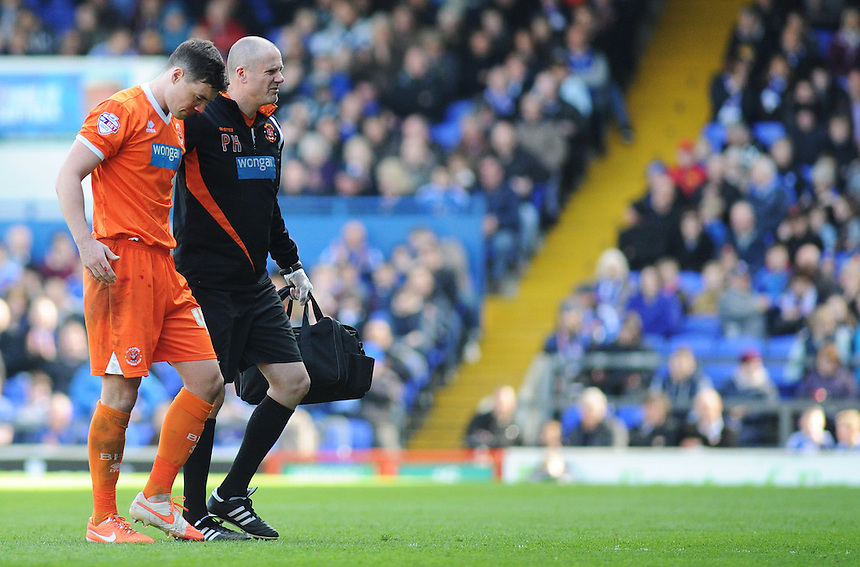 Blackpool's Darren O'Dea leaves the field injured<br /> <br /> Photographer Kevin Barnes/CameraSport<br /> <br /> Football - The Football League Sky Bet Championship - Ipswich Town v  Blackpool - Saturday 11th April 2015 - Portman Road - Ipswich<br /> <br /> &copy; CameraSport - 43 Linden Ave. Countesthorpe. Leicester. England. LE8 5PG - Tel: +44 (0) 116 277 4147 - admin@camerasport.com - www.camerasport.com