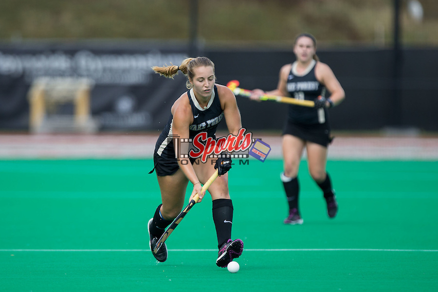 Brittany Dickinson (12) of the Wake Forest Demon Deacons chases after the ball during first half action against the Liberty Flames at Kentner Stadium on September 20, 2015 in Winston-Salem, North Carolina.  The Demon Deacons defeated the Flames 2-1.  (Brian Westerholt/Sports On Film)