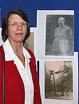 Lucita Shorter pictured with a photo of her grandfather Lt. Col. John McDonnell at the Bellewstown Heritage Group exhibition in Bellewstown parish hall. Photo:Colin Bell/pressphotos.ie