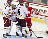Kevin Hayes (BC - 12), Parker Milner (BC - 35), Sahir Gill (BU - 28), Patrick Wey (BC - 6) - The Boston College Eagles defeated the visiting Boston University Terriers 5-2 on Saturday, December 1, 2012, at Kelley Rink in Conte Forum in Chestnut Hill, Massachusetts.