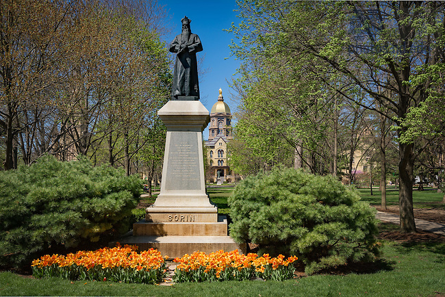 Apr. 23, 2016; Sorin Statue, Main Quad (Photo by Matt Cashore/University of Notre Dame)