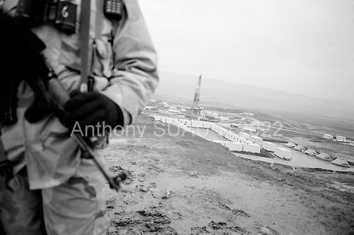 near Tawke, Kurdistan.January 25, 2006..Security surrounds the new DOA oil rig near the Tawke village in Kurdistan.
