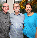 Bob Lasko, Sam Rudy and Glenna Friedman during Retirement Celebration for Sam Rudy at Rosie's Theater Kids on July 17, 2019 in New York City.
