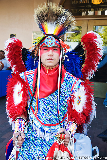 Actor and model Malachi Tsoodle-Nelson, a Kiowa - Navajo from Albuquerque, brought a colorful note to the Native American costume contest at the 2008  Santa Fe Indian Market
