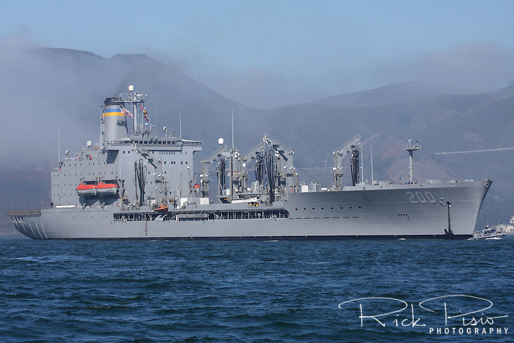 The Henry J. Kaiser class replenishment oiler USNS Guadalupe (T-AO-200) enters San Francisco Bay. Commissioned in 1992, the USNS Guadalupe is operated by the Military Sealift Command to support ships of the United States Navy and can carry a cargo of 31,200 deadweight tons.
