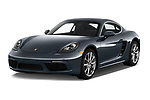 2017 Porsche 718 Cayman 3 Door Coupe Angular Front stock photos of front three quarter view