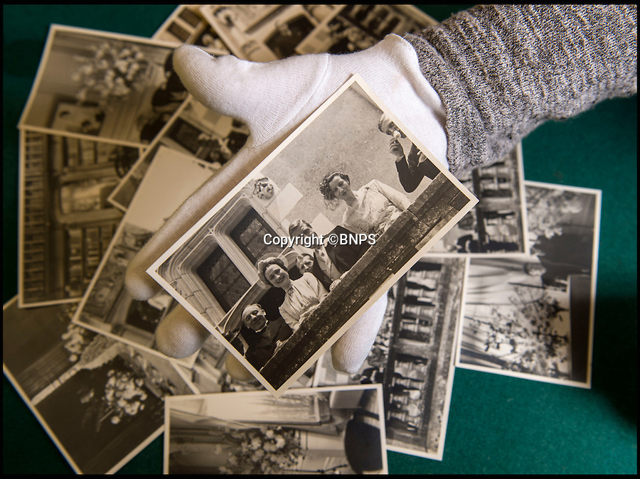 BNPS.co.uk (01202 558833)<br /> Pic: PhilYeomans/BNPS<br /> <br /> Candid snap of Edward and Wallis after the service.<br /> <br /> Previously unseen photographs of the most notorious wedding of the twentieth century have come to light - in a secret album only distributed to the small number of guest's.<br /> <br /> The series of candid photographs from the marriage of Edward VIII to his mistress Wallis Simpson in June 1937 have come to light 80 years after the he sparked a constitutional crisis in Britain.<br /> <br /> The intimate photos were taken by Lady Alexandra Metcalfe, wife of Edward's best man Major Edward 'Fruity' Metcalfe, who had assumed the role of unofficial photographer at the simple ceremony.<br /> <br /> The private pictures were distributed only to the handful of guest's at the Chateau, and this set was given to W. Cunningham Graham, the British consul at Nante.<br /> <br /> They show how Edward's marriage to Wallis Simpson was in stark contrast to the opulent weddings that Royal Family members are usually afforded.<br /> <br /> Bellmans auctioneers in Billingshurst, West Sussex are selling the fascinating album on 30th November.