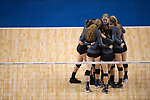 GRAND RAPIDS, MI - NOVEMBER 18: Claremont-Mudd-Scripps player huddle during the Division III Women's Volleyball Championship held at Van Noord Arena on November 18, 2017 in Grand Rapids, Michigan. Claremont-M-S defeated Wittenberg 3-0 to win the National Championship. (Photo by Doug Stroud/NCAA Photos via Getty Images)