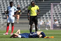 Ross McCrorie of Scotland awaits  the medical team for some treatment after suffering an injury in the first half during England Under-18 vs Scotland Under-20, Toulon Tournament Semi-Final Football at Stade Parsemain on 8th June 2017