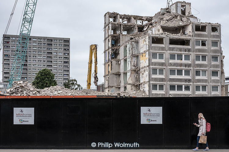 Part demolished  Gloucester House and the scheduled-for-demolition 18 storey Herefordshire House, South Kilburn Estate, London Borough of Brent.
