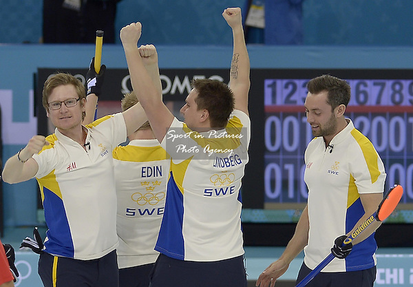 The Swedish team celebrate. (l to r)Viktor Kjaell (SWE), Niklas Edin (SWE, skip), Fredrik Lindberg (SWE) and Sebastian Kraupp (SWE, vice skip). Mens curling - Bronze medal match - SWE v CHN - Ice Cube Curling Centre - Olympic Park - PHOTO: Mandatory by-line: Garry Bowden/SIPPA/Pinnacle - Photo Agency UK Tel: +44(0)1363 881025 - Mobile:0797 1270 681 - VAT Reg No: 768 6958 48 - 210214 - 2014 SOCHI WINTER OLYMPICS - Ice Cube Curling Centre, Sochi, Russia