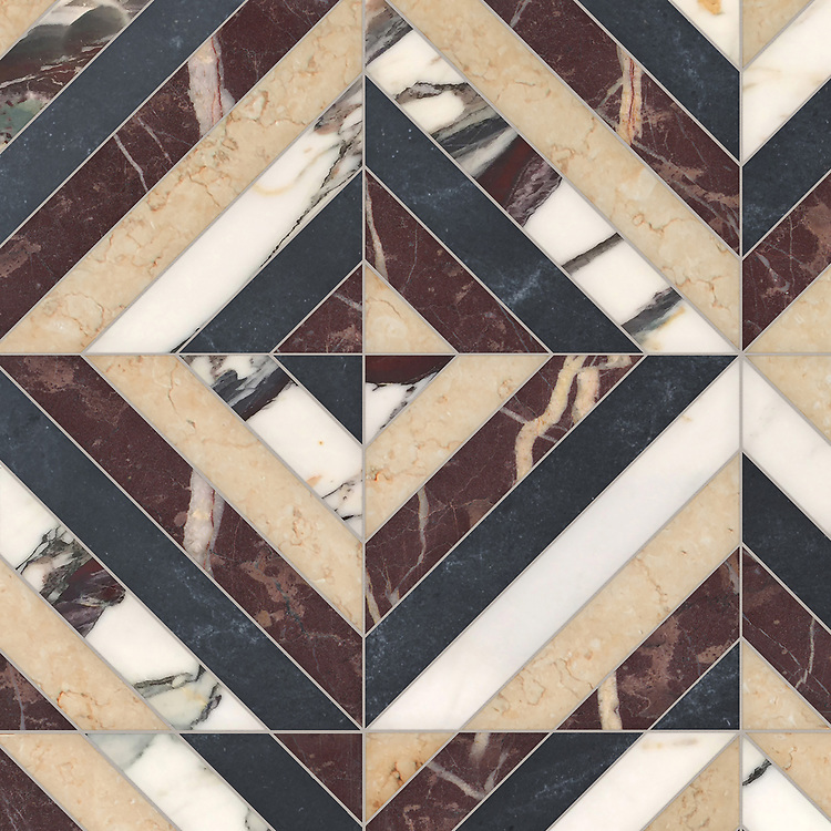 Lars, a hand-cut stone mosaic, shown in polished Plumeria, Chinese Purple, honed Sylvia Gold, and Orpheus Black, is part of the Semplice® collection for New Ravenna.