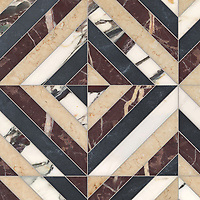 Lars, a hand-cut stone mosaic, shown in polished Plumeria, Bordeaux, honed Sylvia Gold, and Orpheus Black, is part of the Semplice™ collection for New Ravenna.