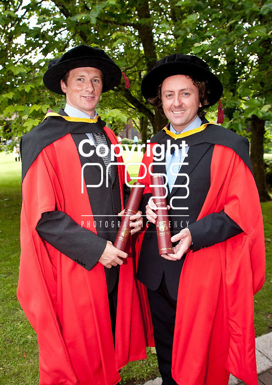 30.08.12 Attending the University of Limerick Conferrings on Thursday evening were Phd recepients, Dr. Andrew Cashman, Mallow Co. Cork and Dr. John Walsh, Listowel Co. Kerry. Pic. Alan Place / Press 22