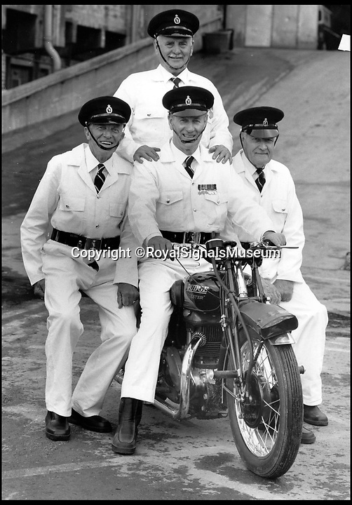 BNPS.co.uk (01202 558833)<br /> Pic: RoyalSignalsMuseum/BNPS<br /> <br /> Members of the White Helmets pictured in 1987.<br /> <br /> The Army's White Helmets motorbike display team were given a rousing send off as they gave their final public performance after 90 years of history. <br /> <br /> The White Helmets - dubbed 'the Red Arrows on wheels' - have thrilled crowds with their brilliant daredevil displays since 1927 but have now revved their engines for the last time. <br /> <br /> The army has axed the display team because they are out of date. Cost-cutting is also believed to be behind the move.