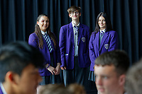 Pictured L-R: Year 10 pupils Tamzin Samuels, James Lockey and Jenna Roderick rehearse Wales National Opera's Rhondda Rips It UP at of John Frost School in Newport, Wales, UK. Thursday 11 May 2018<br /> Re: Welsh National Opera is creating a new musical hall-style all female piece for the summer called Rhondda Rips It Up. It's about the life of suffragette Lady Rhondda with songs inspired by suffragette slogans. Opera opening next month in Newport, south Wales, where Lady Rhondda blew up a postbox with a home-made bomb and went to jail for.