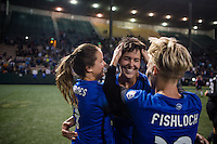 Seattle, Washington -  Sunday, September 11 2016: Seattle Reign FC midfielder Keelin Winters (11) celebrates after her last home match with her teammates. Seattle won 2-0.
