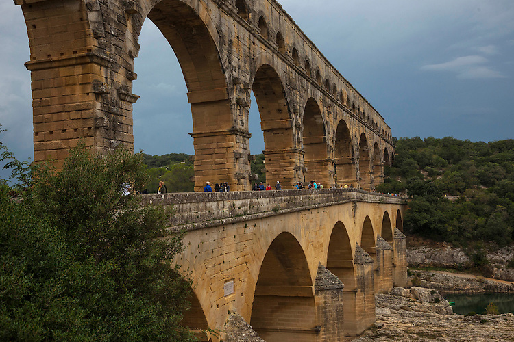 This 2000 year old Roman aquaduct spans the river gorge on its three tiers of golden limestone arches.