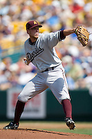 Arizona State's Merrill Kelly in Game 7 of the NCAA Division One Men's College World Series on Monday June 22nd, 2010 at Johnny Rosenblatt Stadium in Omaha, Nebraska.  (Photo by Andrew Woolley / Four Seam Images)