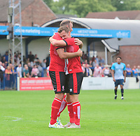 Lincoln City's Matt Rhead, left, celebrates scoring his side's second goal with team-mate Harry Toffolo<br /> <br /> Photographer Chris Vaughan/CameraSport<br /> <br /> Football Pre-Season Friendly (Community Festival of Lincolnshire) - Gainsborough Trinity v Lincoln City - Saturday 6th July 2019 - The Martin & Co Arena - Gainsborough<br /> <br /> World Copyright © 2018 CameraSport. All rights reserved. 43 Linden Ave. Countesthorpe. Leicester. England. LE8 5PG - Tel: +44 (0) 116 277 4147 - admin@camerasport.com - www.camerasport.com