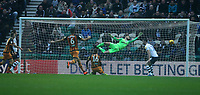 Hull City's Jackson Irvine heads past Preston North End's goalkeeper Declan Rudd to score the opening goal <br /> <br /> Photographer Stephen White/CameraSport<br /> <br /> The EFL Sky Bet Championship - Preston North End v Hull City - Wednesday 26th December 2018 - Deepdale Stadium - Preston<br /> <br /> World Copyright &copy; 2018 CameraSport. All rights reserved. 43 Linden Ave. Countesthorpe. Leicester. England. LE8 5PG - Tel: +44 (0) 116 277 4147 - admin@camerasport.com - www.camerasport.com