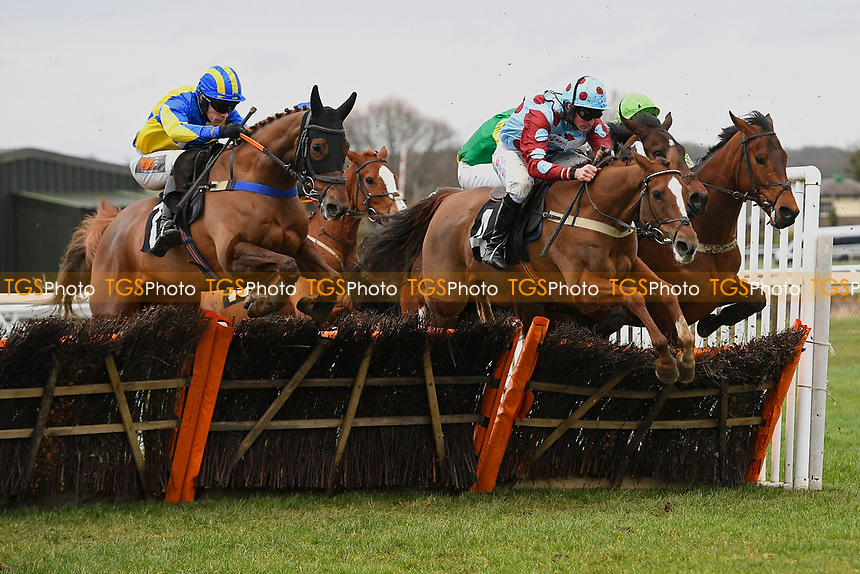 Marmont (l) and Ding Ding lead over the last fence second time around in The Extech Cloud-Humanising It Handicap Hurdle during Horse Racing at Plumpton Racecourse on 10th February 2020
