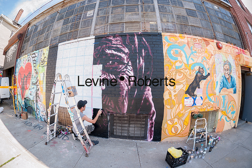 Street artist Damien Mitchell at work at the Welling Court Mural Project in the Astoria neighborhood of Queens in New York on Saturday, June 13, 2015. The annual neighborhood event decorates walls in this industrial part of Astoria. The project is crowd-funded and emerging street artists work side by side with established stars.  (© Richard B. Levine)