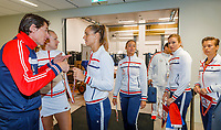 The Hague, The Netherlands, Februari 7, 2020,    Sportcampus, FedCup  Netherlands -  Balarus, Opening Dutch team is ready, captain Paul Haarhuis gives the last instructions<br /> Photo: Tennisimages/Henk Koster