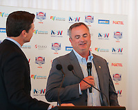 SYDNEY, AUSTRALIA - August 23, 2016:  Cal Bears Football team Australia trip.  Sonny Dykes addresses the media during the Sydney Cup press conference.