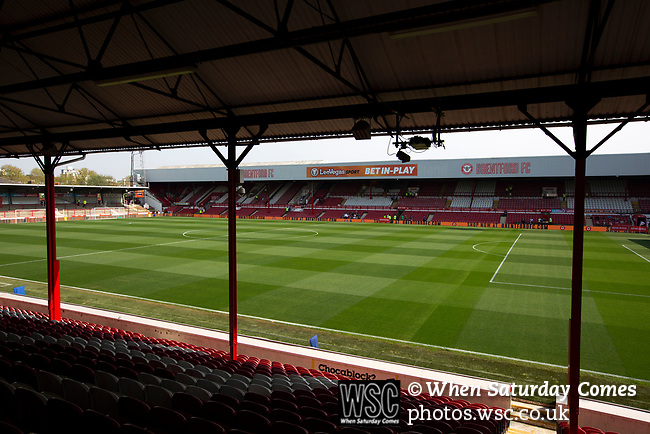 An interior view of the stadium showing the Braemar Road stand before Brentford hosted Leeds United in an EFL Championship match at Griffin Park. Formed in 1889, Brentford have played their home games at Griffin Park since 1904, but are moving to a new purpose-built stadium nearby. The home team won this match by 2-0 watched by a crowd of 11,580.