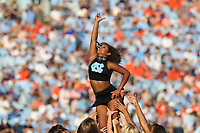 CHAPEL HILL, NC - SEPTEMBER 28: A University of North Carolina cheerleader performs a dance routine during a timeout during a game between Clemson University and University of North Carolina at Kenan Memorial Stadium on September 28, 2019 in Chapel Hill, North Carolina.