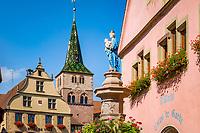France, Alsace, Haut-Rhin, Turckheim: with Townhall, church Ste. Anne and fountain with statue of virgin Mary | Frankreich, Elsass, Haut-Rhin, Turckheim: mit Rathaus, Kirche Ste. Anne und Brunnen mit Marienfigur