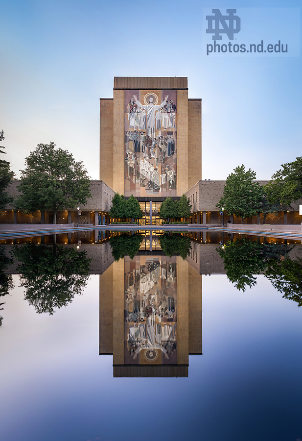 June 27, 2017; Word of Life Mural and reflecting pool, summer 2017 (Photo by Matt Cashore/University of Notre Dame)