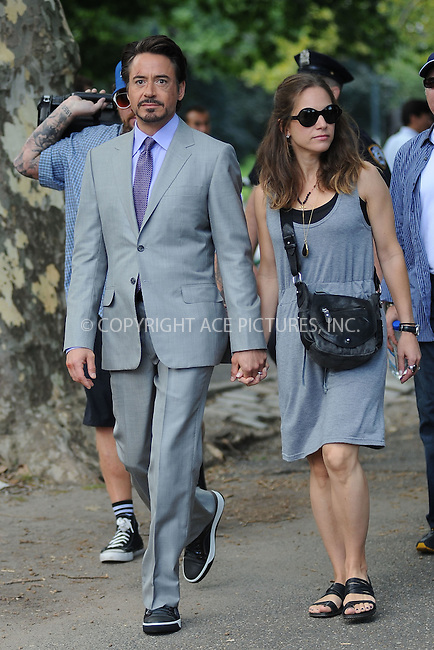 WWW.ACEPIXS.COM . . . . . .September 2, 2011, New York City.... Robert Downey Jr. and his wife , Susan Levin on the  movie set of the Avengers in Central Park on September 2, 2011 in New York City in New York City....Please byline: KRISTIN CALLAHAN - ACEPIXS.COM.. . . . . . ..Ace Pictures, Inc: ..tel: (212) 243 8787 or (646) 769 0430..e-mail: info@acepixs.com..web: http://www.acepixs.com .