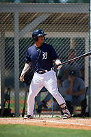 GCL Tigers East third baseman Moises Bello (13) at bat during a game against the GCL Tigers West on August 8, 2018 at Tigertown in Lakeland, Florida.  GCL Tigers East defeated GCL Tigers West 3-1.  (Mike Janes/Four Seam Images)