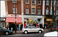 BNPS.co.uk (01202 558833)<br /> Pic:  PatJenkins/BNPS<br /> <br /> Xmas turkeys in the 1980's when customers would queue round the block.<br /> <br /> Britain's longest-serving butcher fears achievements like hers are headed for the chop thanks to the demise of the high street.<br /> <br /> Pat Jenkins, who has recently celebrated her 80th birthday, has been working as a butcher for 60 years after joining her father Albert Musselwhite in the family business in 1958.<br /> <br /> She learnt everything she knows on the job, at a time when female butchers were completely unheard of, and still runs Mason's in Bournemouth, Dorset, with her son Andrew, 55.<br /> <br /> But Pat says the struggling high street cannot recover and local butchers are a dying breed.<br /> <br /> Their shop on Christchurch Road was once one of 11 butchers on the three-mile stretch, but now they are the only one still going.