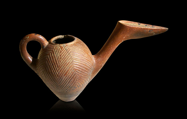 Bronze Age Anatolian terra cotta side spouted pitcher with bill shaped end - 19th to 17th century BC - Kültepe Kanesh - Museum of Anatolian Civilisations, Ankara, Turkey.  Against a black background.