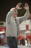 NWA Democrat-Gazette/ANDY SHUPE<br /> Arkansas coach Mark Cook cheers his athletes Saturday, Jan. 5, 2019, during the Razorbacks' meet with No. 2 Oklahoma in Barnhill Arena in Fayetteville. Visit nwadg.com/photos to see more photographs from the meet.