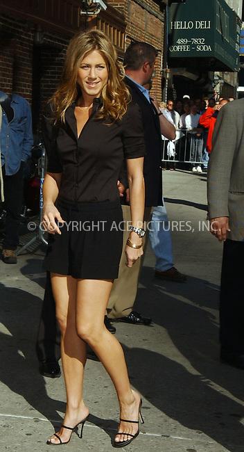 WWW.ACEPIXS.COM . . . . .  ....NEW YORK, MAY 24, 2006....Jennifer Aniston visits the Late Show with David Letterman.....Please byline: KRISTIN CALLAHAN - ACEPIXS.COM.... *** ***..Ace Pictures, Inc:  ..(212) 243-8787 or (646) 769 0430..e-mail: picturedesk@acepixs.com..web: http://www.acepixs.com